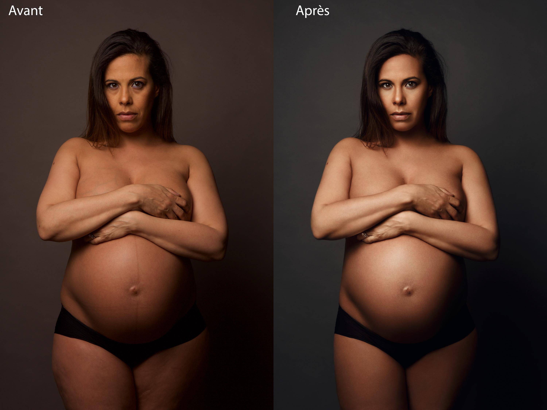 Retouche photo femme enceinte avant après