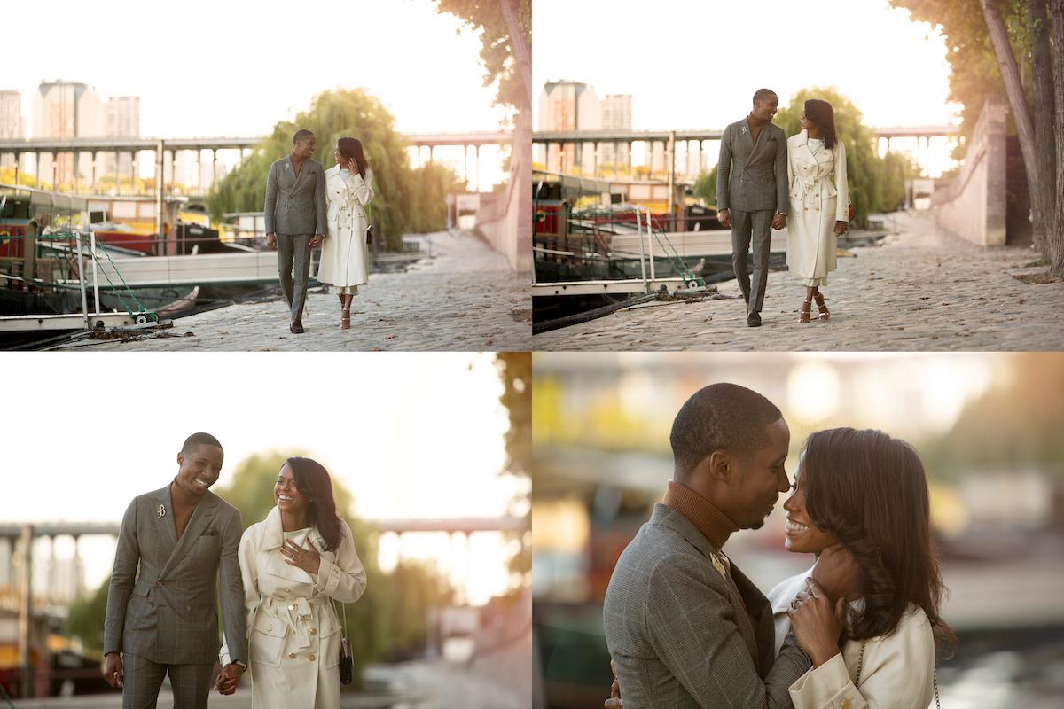 séance photo couple dans Paris romantique bord de seine Raphaël photographe couche de soleil