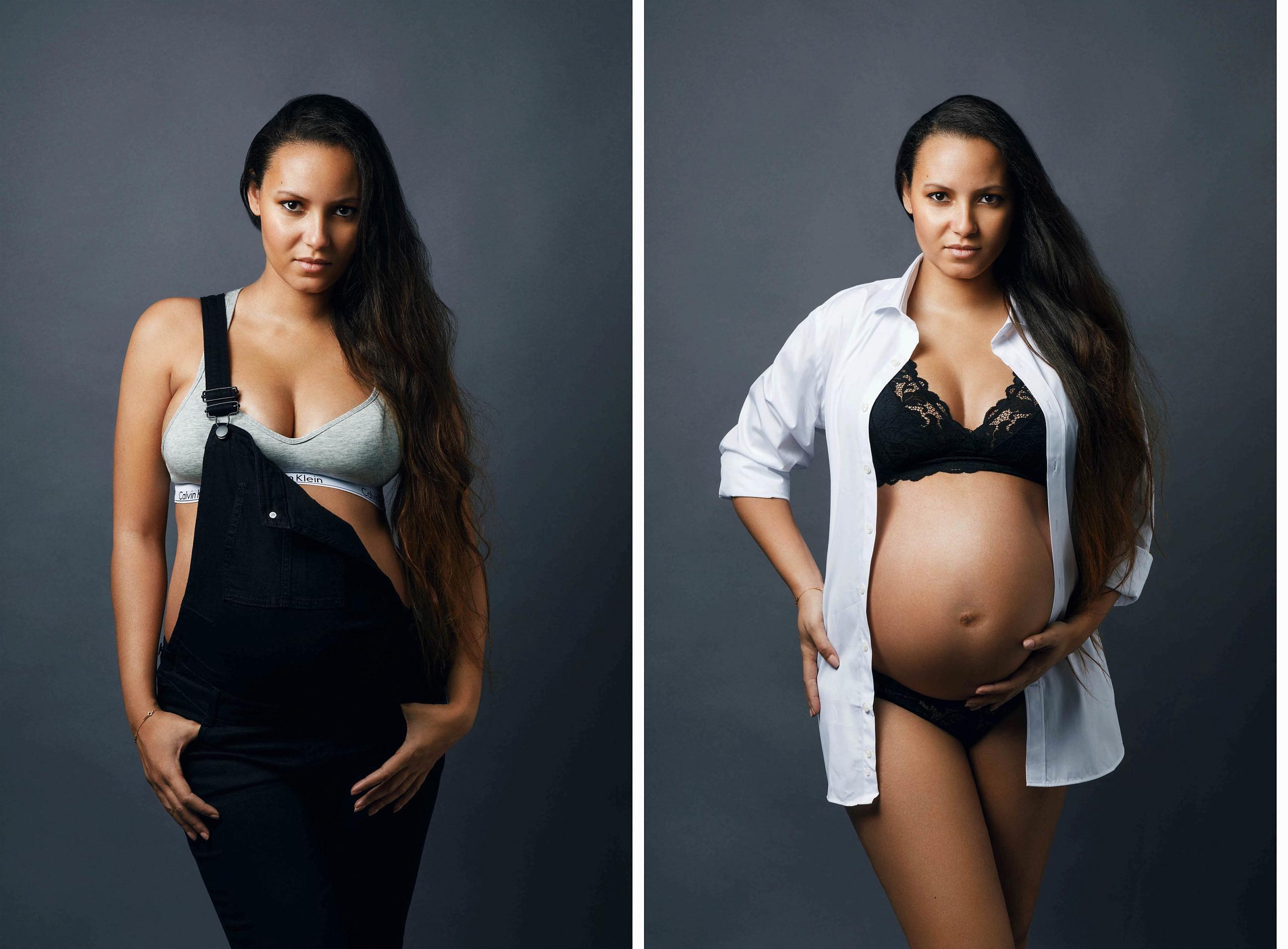 Photographe-femme-enceinte-grossesse-en-chemise-et-sous-vetement-photo-studio-salopette